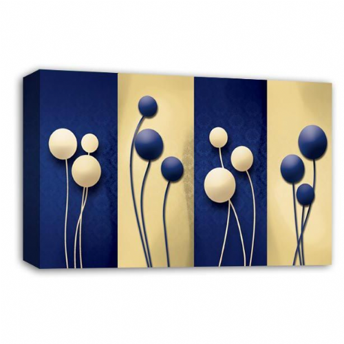 Floral Abstract Wall Art Picture Cream Blue Grey Flower Print